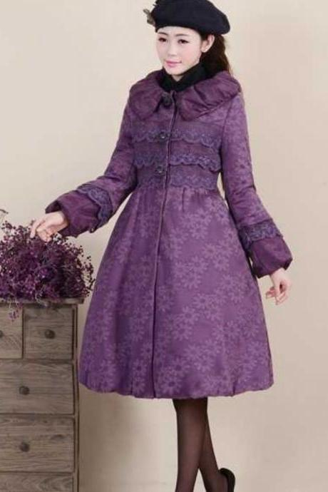 Purple Coat Purple Dress Trench Coats Thick and Warm Purple Dress for Women