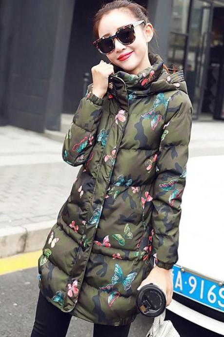 Hoodies for Women Free Shipping Green Camouflage Coat Thick and Warm Cotton Duck Down Parkas for Women with Hood Winter Jacket for Women