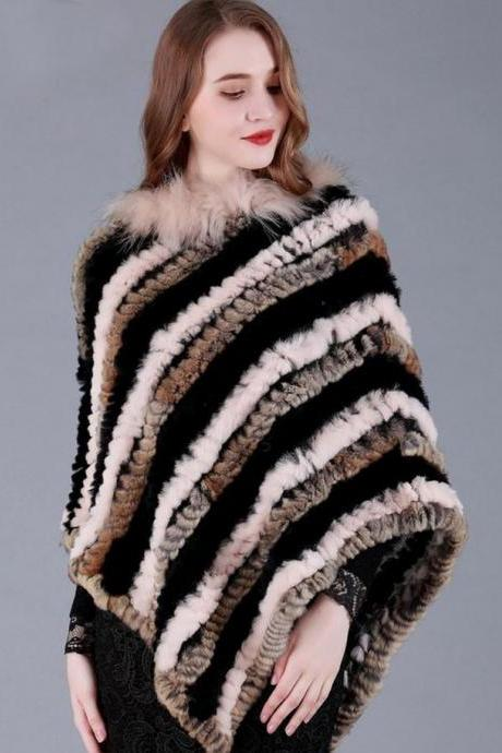 Brown Shawl for Women Brown Capes with Faux Rabbit Fur Brown Wrap Around Striped Shawl