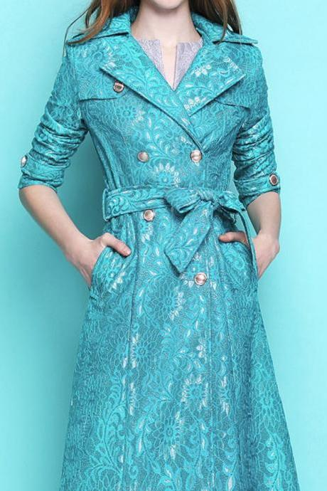 Aqua Blue Trench Coats Embroidery Royal Style Embroidery Laced High Quality Turquoise Winter Jackets for Women
