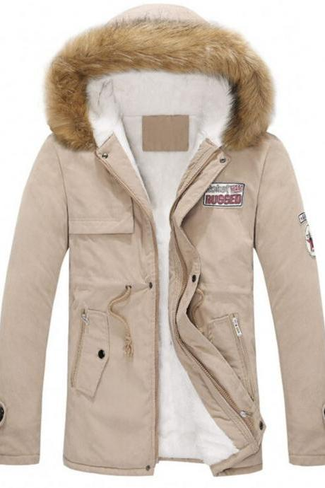 Beige Jacket for Men and Women Unisex Parka Jacket with Hood