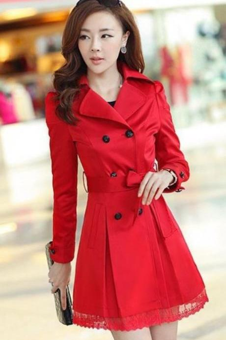 Red Dress Spring and Fall Red Trench Coats with Laces and Bow Red Trench Coats Pretty Red Trench