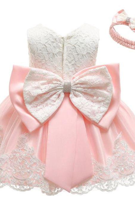 Lovely Pastel Pink Dress for Infant Girls with Big Bow Jacquard Embroidery Laces Peach Dress for Newborn Girls