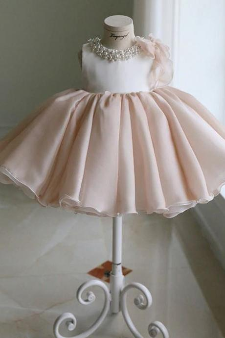 Elite Pink Tutu Dress for Infant Girls Free Bow Headband or Free Tiara Ivory Beige Ballgown Dresses