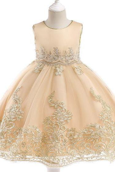 RSS Boutique Formal Dress for Toddler Girls Golden Dresses for Girls Pageant Dress FREE Tiara