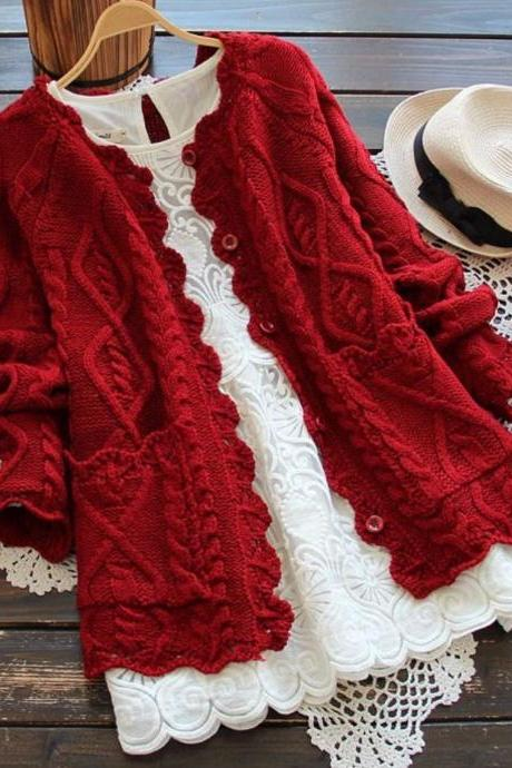 Red Cardigan for Women Red Sweater Winter Cardigans Red Color Cable Handknitted Handmade Sweater Long Sleeve Sweater