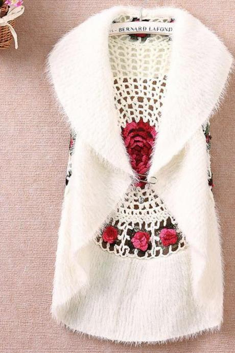 White Cardigan Women's Crochet White Vest Sweater Outerwear Casual Cardigan Very Soft Material