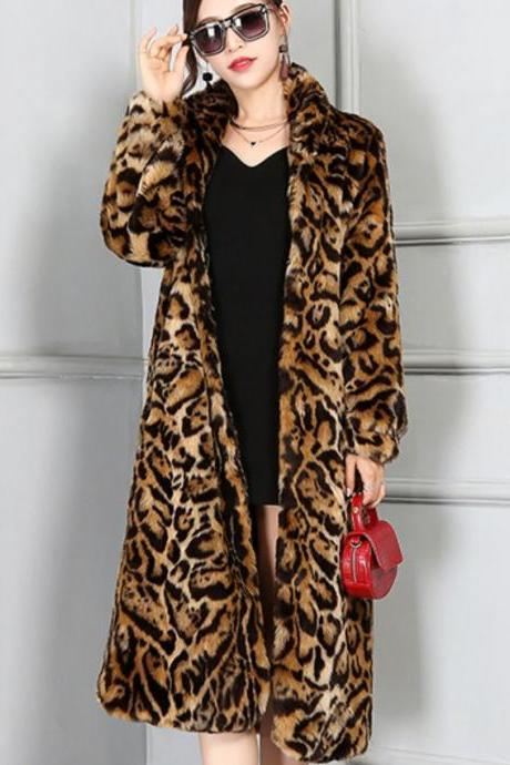 Leopard Coats Autumn Windbreaker Long Section Coats Female Elegant Leopard Trench Coats With Belt