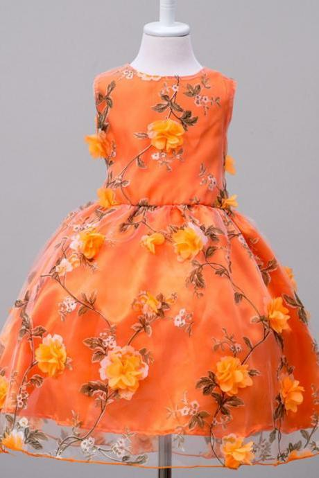 Orange Dress Orange Floral Formal Wear 2t,3t,4t,5t,6t,7t up to 10 Years Old