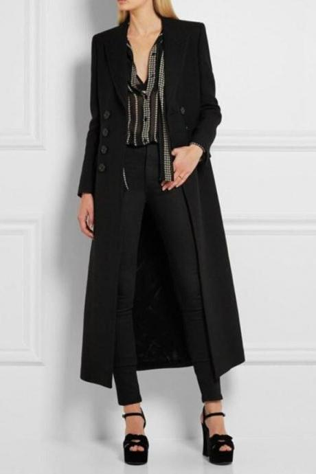 RSSLyn New Style Black Overcoats for Women with FREE Designer Brooch-RudelynsSariSariStore.com Black Winter Coats with Buckles Large Size Trench Coats