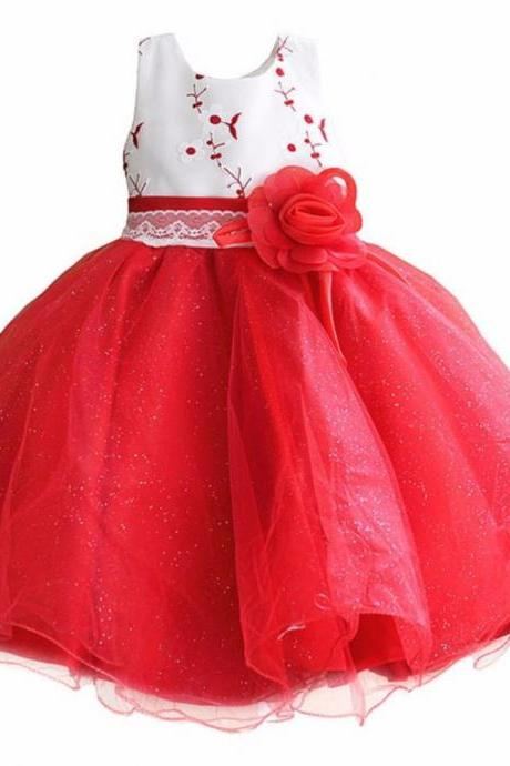 Red Dress for Toddler Girls Layered Organza Ballgown Style Red Tutu Dress