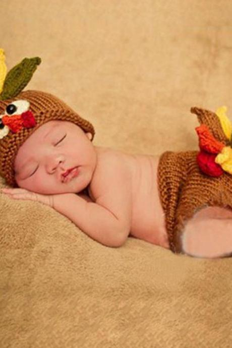 Thanksgiving Props for Newborn Baby Boys and Girls Turkey Hat and Diaper