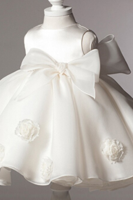 Christening Dress for Infant Girls White Dress Formal Wear for Baby Girls Flower Girls Wedding Dress