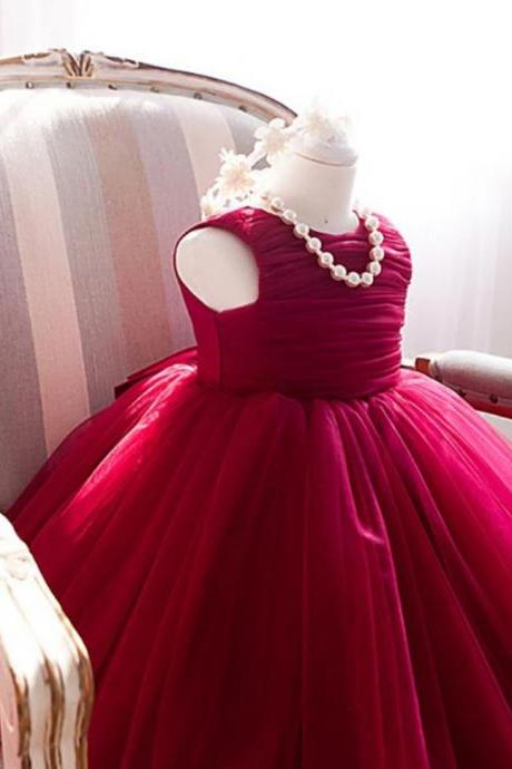 Baby Girls Dress Red Tutu Dress for 18-24 Months Little Flower Girl Formal Ballgown Red Dress