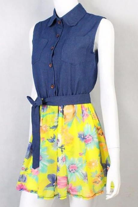 Sleeveless Denim Dress for Teen Girls and Women Summer and Spring