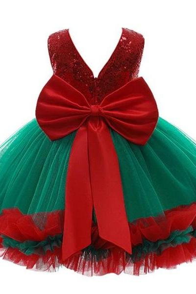 Rsslyn Red Sequin Dress Christmas Outfit for Girls 9Months-4Years Old Girls Free Golden Tiara V-Backless Dress