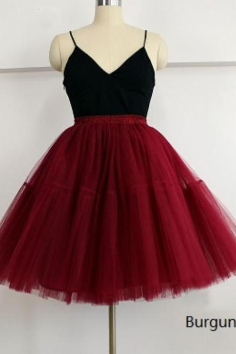Plus Size Bridesmaids Red Skirts Tutu Skirts for Women Petticoats American Apparel 7 Layers Midi Tulle