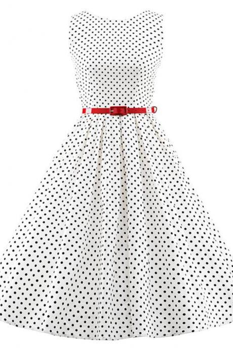 White Polka Dots Dress White Tutu Dress Short Sleeves White Dress with Red Belt White Dress for Women Spring Summer Dress