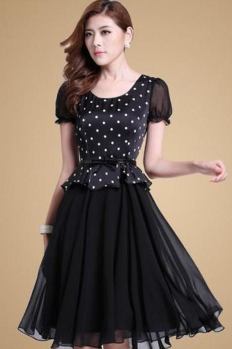Black Dress Lady Black Polka Dots Dress Black Tutu Dress Short Sleeves Ruffles O Neck