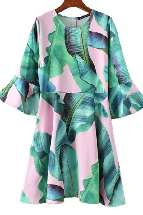 Fashion Dress Tropical Leaves Prints Long Tunic Green Dress for Women Flare Sleeves