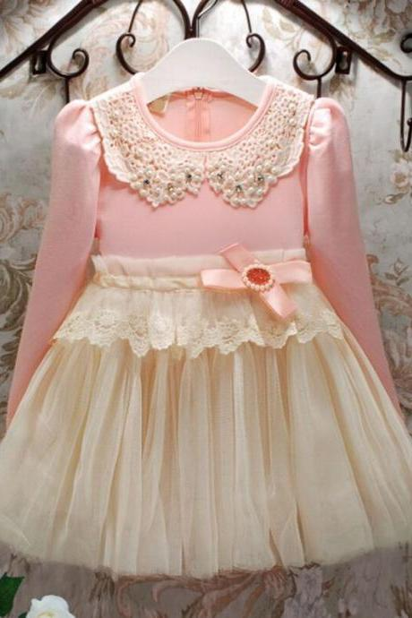 Limited Soft Pink Tutu Dress for 5-6Years Old Girls Dress with Pearl Collar