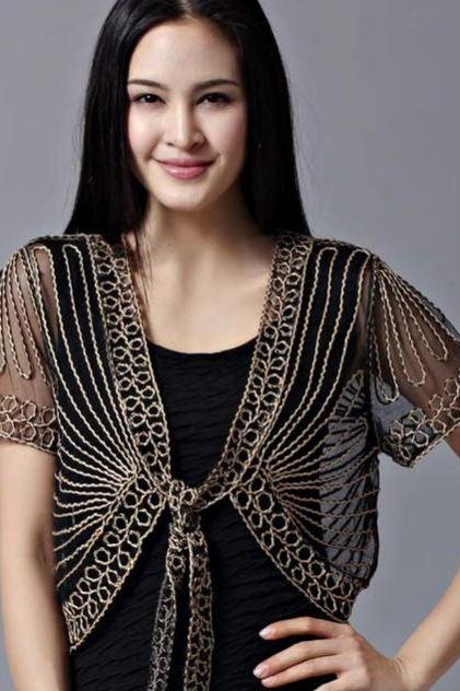 Fashion for Women Black Shrug Black Bolero Black Blouse,Black Lace Shrugs Women Elegant Shrugs laces