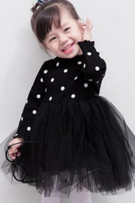 Black Dress Polka Dot Long Sleeve Fluffy Tutu Dress Layered Black Tutu Dress Spring Fall Outfit