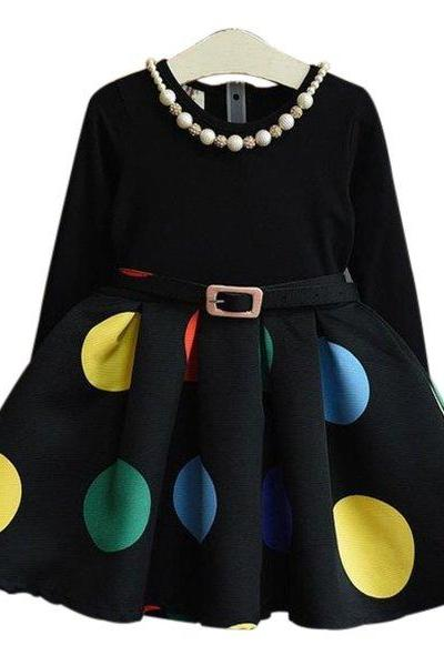 New Arrival Black Dress for Girls Tutu Dress Big Multi-colored Polka Dots Dress Long Sleeve Dress