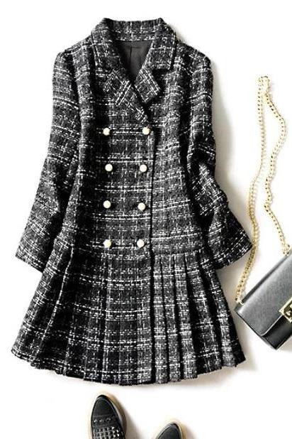 Rsslyn Black Blazer Dress Pleated Bottom Women's Elegant Black Plaid Tweed Coats Notched Collar