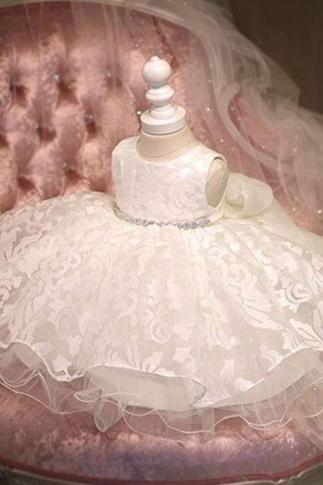 Newborn Dress Ready for Shipping White Baby Dress Lace Embroidered Luxury Wedding Dress Paisley Design