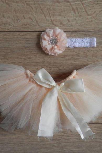 Peach Baby Dress for baby Girls Newborn Outfit Peach Skirts 0-3 Months Ready for Shipping Newborn Props