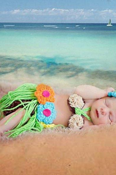 Crochet Hawaiian Hula Polynesian Dance Outfit for Newborn Girls Props Headband, little bra and Tutu