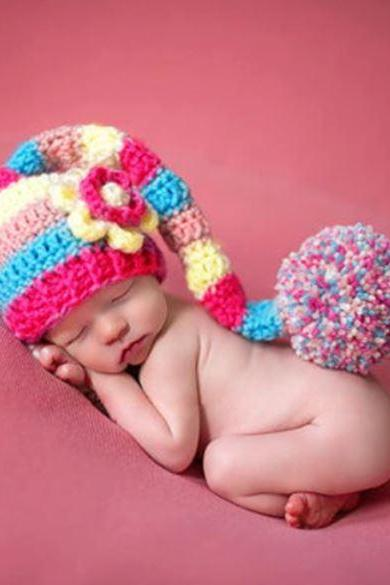 Baby Shower Gifts Handmade Long Pompom Multi-colored Baby Hats Winter hats Preemie Props