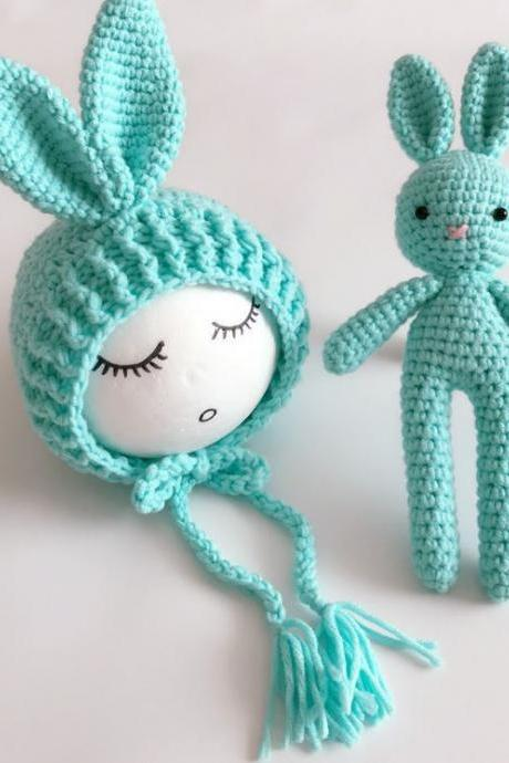 Mint Green Hat Baby Shower Gifts Crochet Handmade Props Baby hat with matching Toy