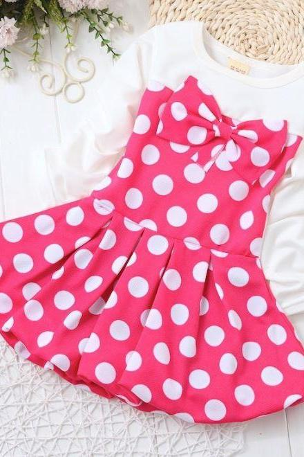Pink Tutu Dress Easter Outfit Polka Dots Dress for Infant Girls Dress Pink Dress with Bow Knot Casual Baby Dress