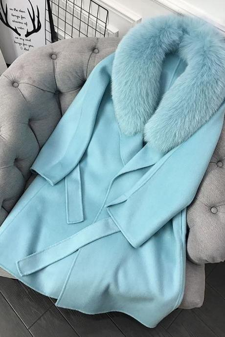 Warmer Blue Wool Winter Trench Coats Pretty Blue Overcoats for Women Winter Coats for Women Plus Size Clothes