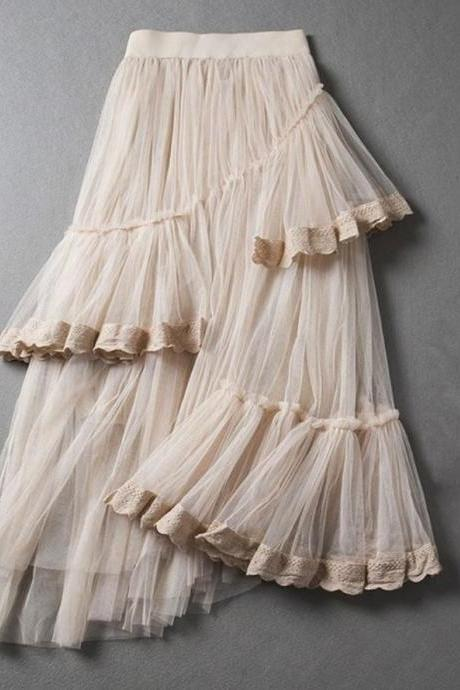 Fashion Skirts for Women Ivory Cream Asymmetrical Layered Summer and Spring Long Skirts