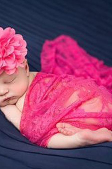 Newborn Props Pink Embroidery Baby Photography Accessories Laced Pink Wraps with Matching Pink Headband