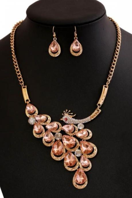 2018 Jewelry Bridesmaids Jewelry Sets for Women Champagne Color Peacock Necklace with Peacock Earrings