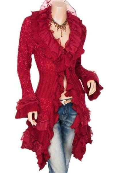 Chic Style Knitted Cardigan for Women Ruffled Modern Fashion Red Sweaters Red Cardigan
