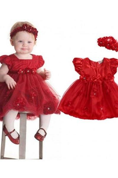 Ready to Ship Red Tutu Dress for Girls with ivory Bows with FREE HEADBAND