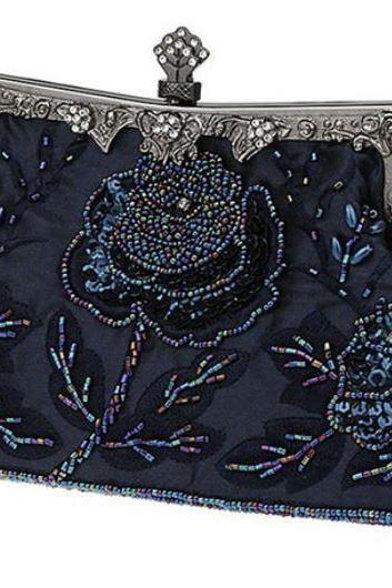 Navy Blue Clutch Bridal Bags Exquisite Embroidery Beaded Clutch RSS Fashion Vintage Purse for Women