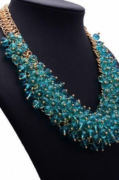 RSS 2018 Silk Bib Necklace Statement Silk Jewelry for Women Chunky Collar Necklaces
