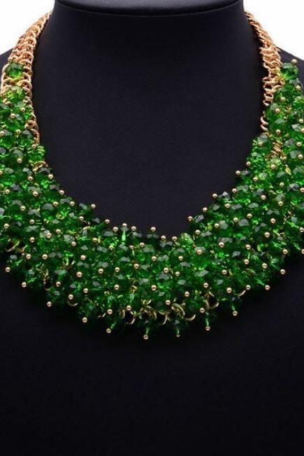 RSS 2018 Fashion Green Bib Necklace Statement Silk Jewelry for Women Chunky Green Big Necklaces