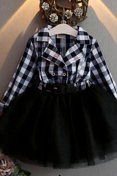 Fall Outift for Little Buckaroo Western Girls Plaid Dress Navy Blue Tutu Dress Checkered Dresses