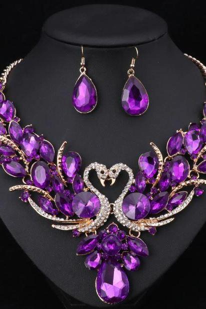 Purple Necklace Purple Earrings New Trend Double Swan Jewelry Set Prom Party Statement Necklace Earring For Women