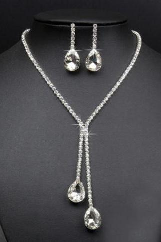 New Rhinestone Crystal Drop Necklace Earring Plated Jewelry Set For Wedding