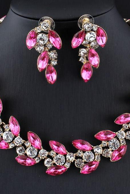 2018 Jewelry Set Bridesmaids Jewelry Sets for Women Banquet Elegant Pink Necklace Pink Earrings