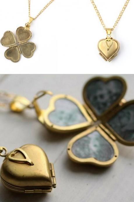 4 Empty Spaces for Pictures Brass Heart Clover Locket Necklaces for Women Vintage Lockets for Girls