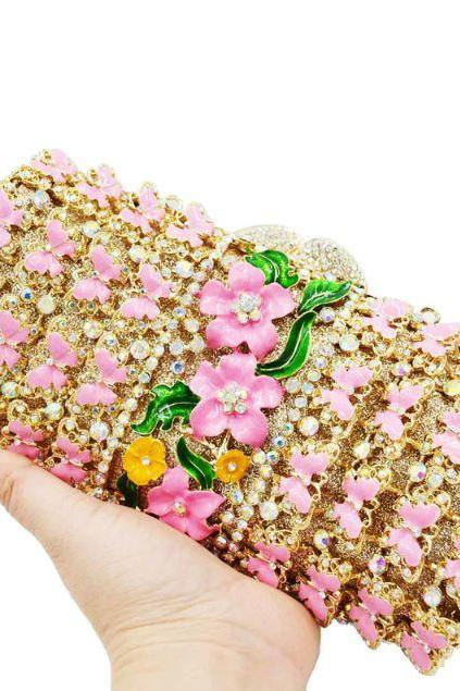 Butterfly Clutch for Women Hollow Golden Clutch for Prom Event Evening Bags Hollow Handbags-Colorfully Women Crystal Evening Handbag